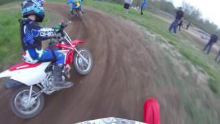 Jordan rides her Honda CRF 70 at Delta MX kids track 5/7/16 Go Pro view