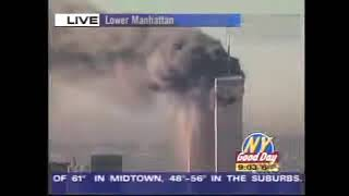 Various News Edits Of North & South Towers Burning With Street Interviews
