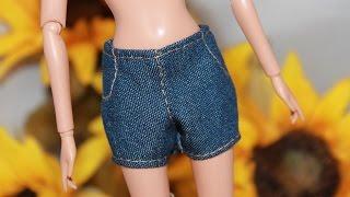 Одежда для куклы Барби .Как сшить джинсовые шорты.  How to make denim shorts for Barbie(Все выкройки для одежды по моим видео есть в альбоме