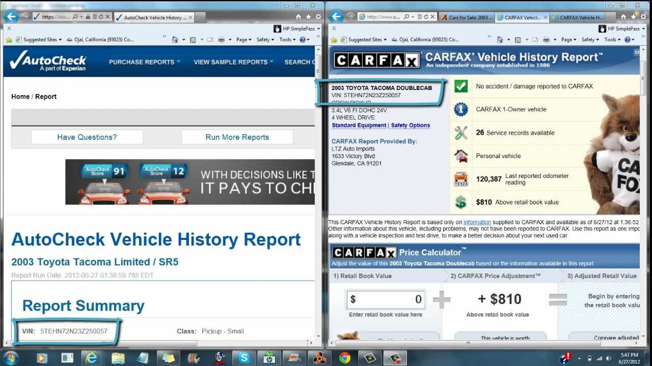Why Carfax is Better than Autocheck - YouTube
