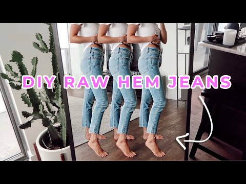 RAW JEAN HEM DIY TUTORIAL | FRAYED JEANS