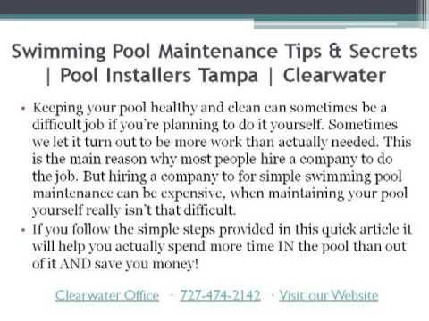 Swimming Pool Maintenance Tips & Secrets - YouTube