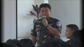 PAF officer addresses Batangas crowd about soldiers