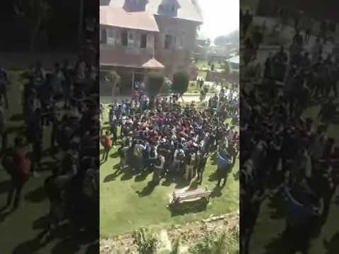 Protests in Amar singh college  srinagar kashmir
