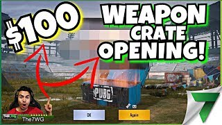 $100 WEAPON CRATE SKIN OPENING! INSANE LUCK & GUN SKIN GIVEAWAY!! | PUBG Mobile