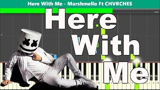 Here with Me Piano Tutorial - Free Sheet Music (Marshmello Ft Chvrches)