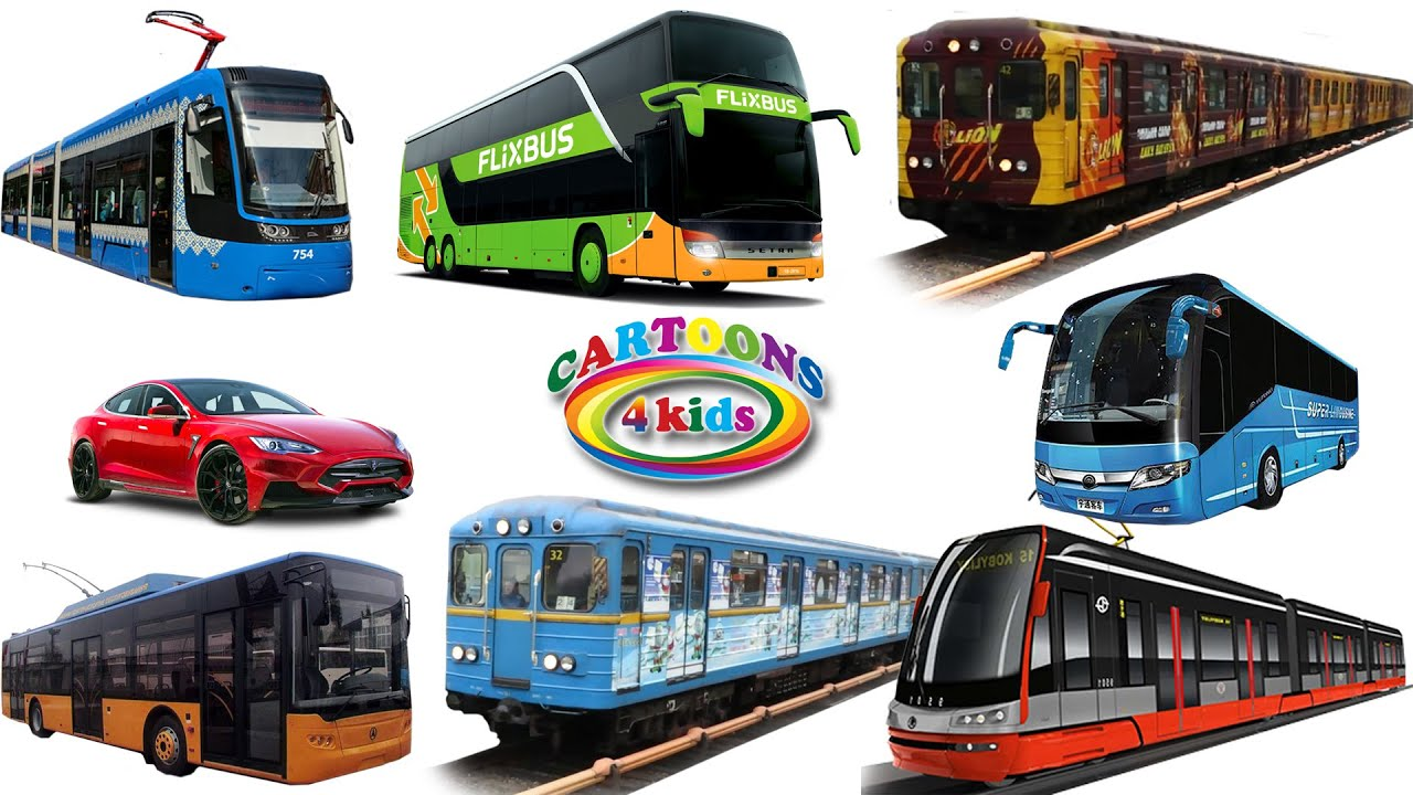 Городской транспорт и Железная дорога   Развивающее видео про игрушки вагон Метро и Поезда для детей