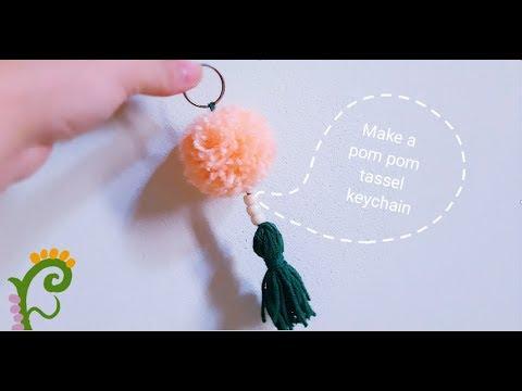 Làm móc khóa tua rua quả bông len| How to make a pompom keychain | Make a Tassel