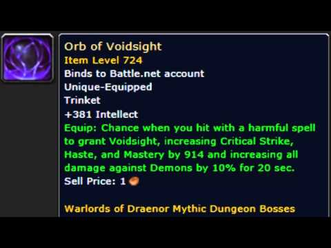 New BOA Mythic Trinkets:Orb of Voidsight:World of Warcraft