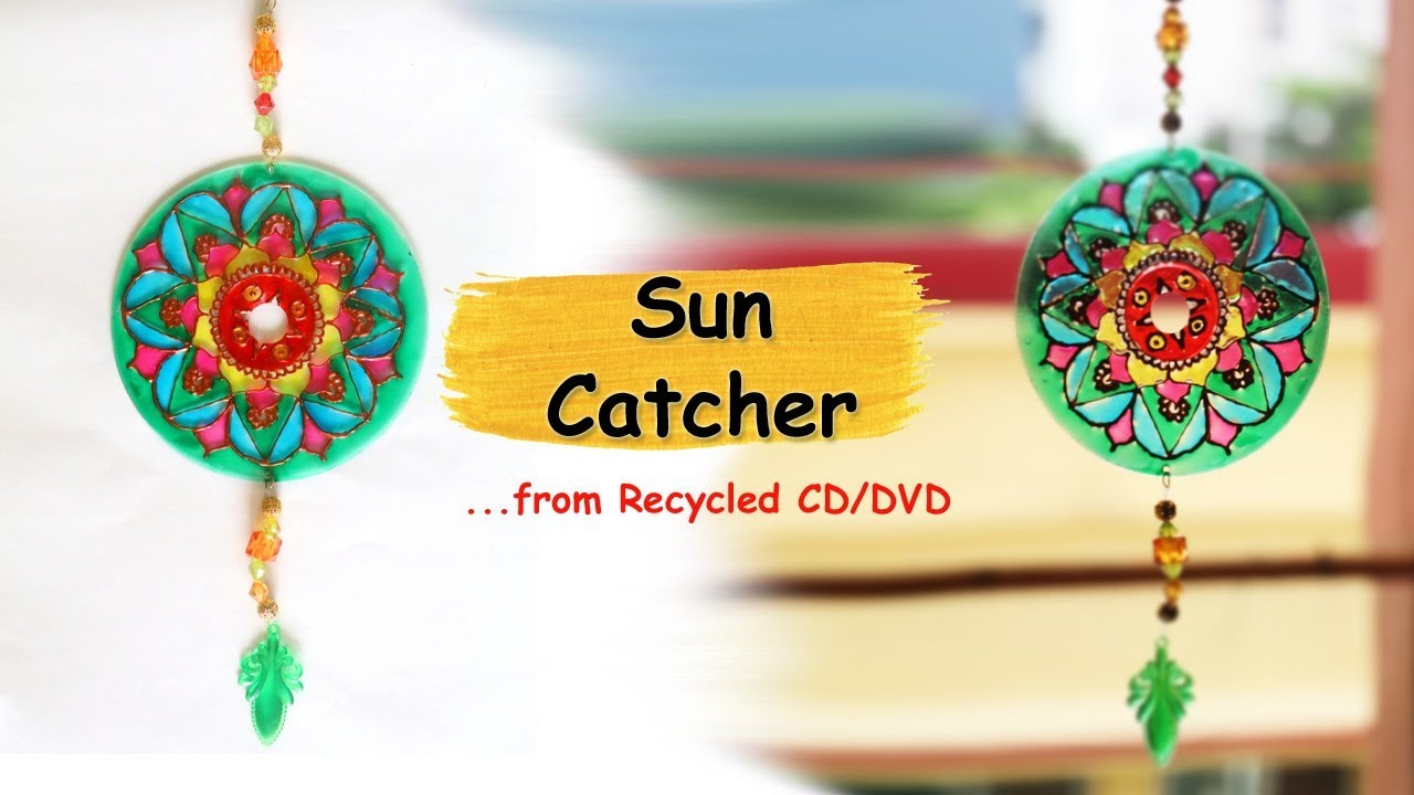 DIY Suncatcher from waste CD/DVD | Recycled Crafts Ideas | DIY Home ...
