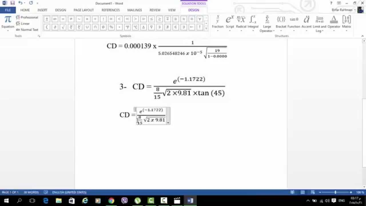 How to Write Mathematical Equations in Microsoft Word 2013 ...