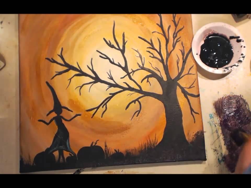 Painted Halloween Canvas Tutorial Angela Holt Designs