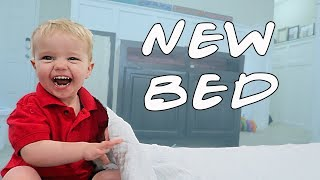 Toddler Tests His New Bed