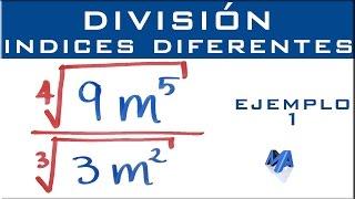 División de radicales con indices diferentes | Ejemplo 1 thumbnail