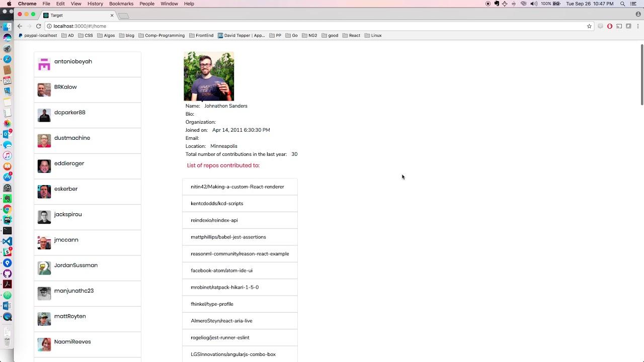 Nodejs Angular application to fetch github profiles