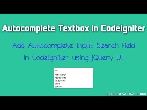 Autocomplete Textbox in CodeIgniter using jQuery UI - CodexWorld