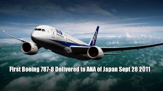 BOEING 787-8 Dreamliner Delivered to ANA of Japan Landing Video and Interior View Pictures Slideshow