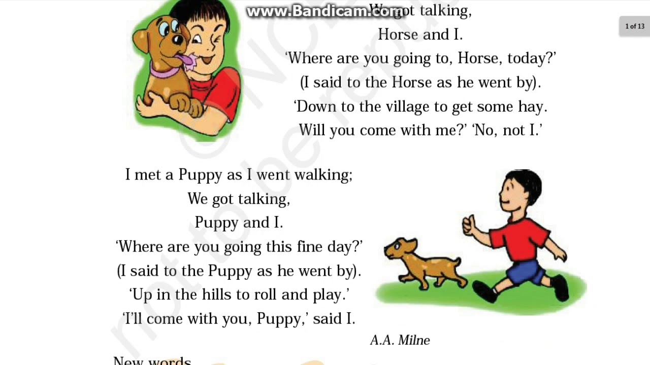 Class 3 Poem Puppy And I Unit 7 Of Marigold Book Hindi