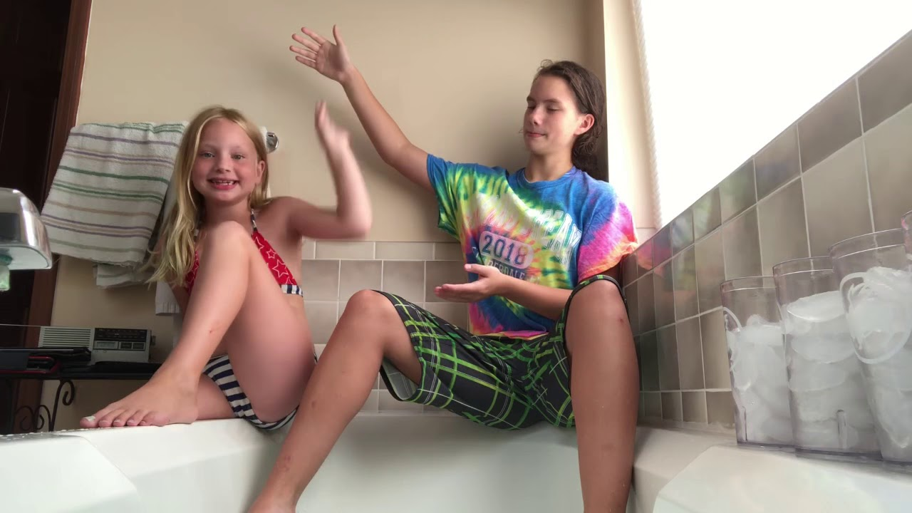 Ice bath challenge with my sister