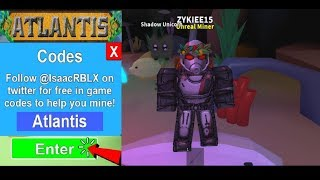 REDEEMING 8 NEW CODES ATLANTIS MINING SIMULATOR UPDATE JUNE I ROBLOX