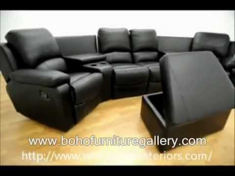 Theater Seating Row Of 4 Black Leather