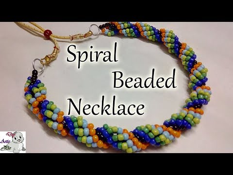 #44 How to make Pearl Beaded Spiral Necklace (Type 2) || Diy || Jewellery Making