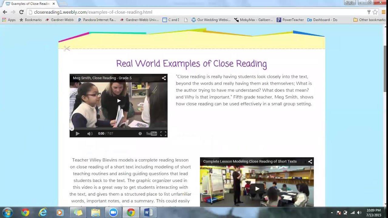Close Reading Presentation Youtube