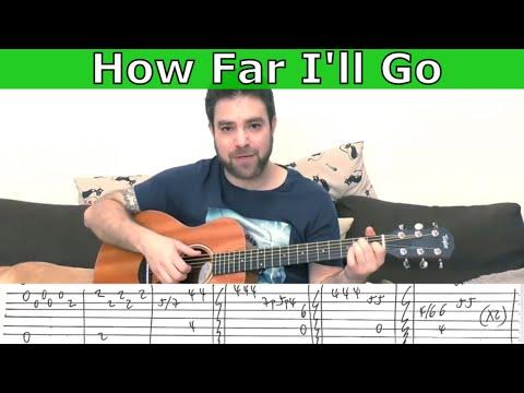 Fingerstyle Tutorial: How Far I'll Go [FULL Instrumental] - Guitar Lesson w/ TAB