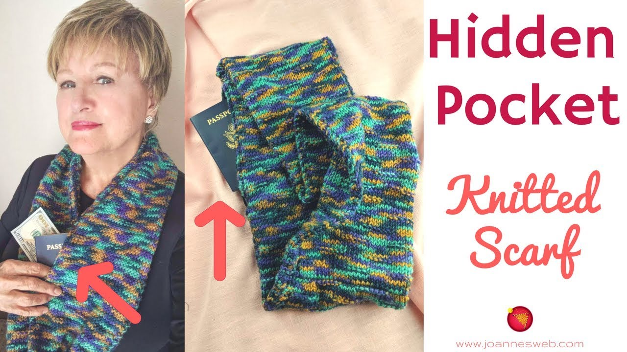 Knitted Hidden Pocket Scarf Knitcrate Infinity Scarf With Secret