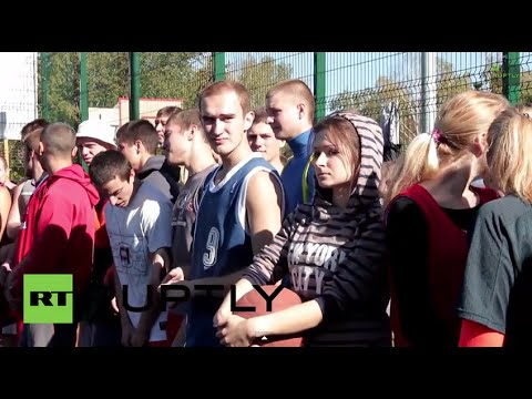 Ukraine: See teens shoot hoops for peace in Donetsk