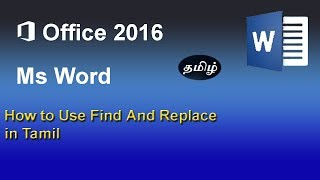 Find and Replace on Microsoft word in Tamil