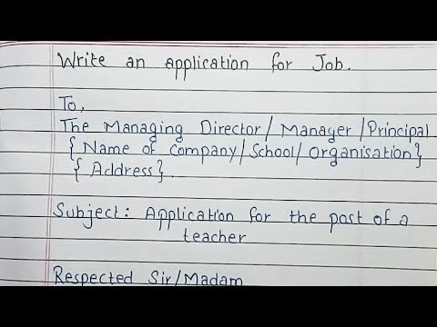 Write An Job Application | Job Application Format