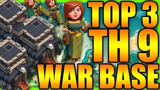 Top 3 Best TH9 War Base (Without X-Bows) 2018 | TH8.5/8.75 New War Base | Clash Of Clans