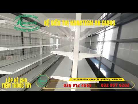 Mô hình giá kệ cửa hàng thuốc tây tại An Giang | Kệ siêu thị Hanatech 036 912 4565