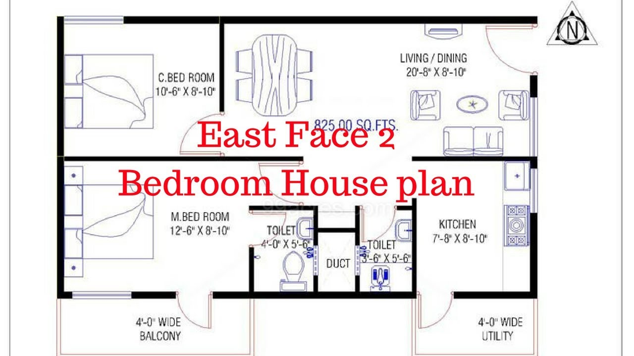 East Face 2 Bedroom House plan | House Plans In Hyderabad East Facing