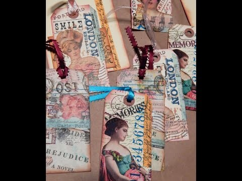 TAG ART - HOW TO DO COLLAGE STAMPING - JOURNAL TAGS