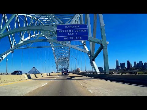 Road Trip #214 - I-40 E - West Memphis, Arkansas to Memphis, Tennessee   Hernando DeSoto Bridge