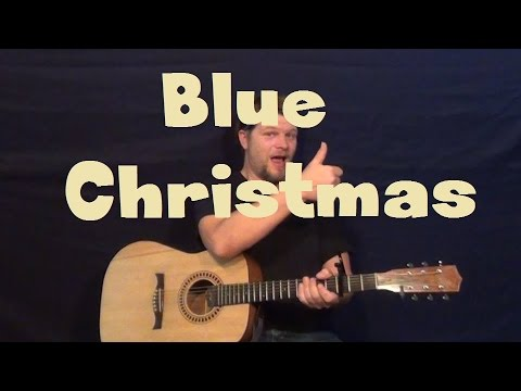 Blue Christmas (Elvis) Easy Strum Guitar Lesson How to Play Tutorial