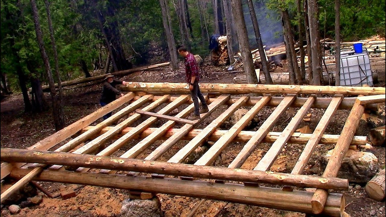 Log Cabin On A Budget Ep 9 Sill Logs Amp Floor Joists