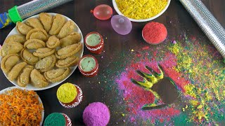 Pan shot of a beautifully decorated festive table for joyful Holi celebrations in India