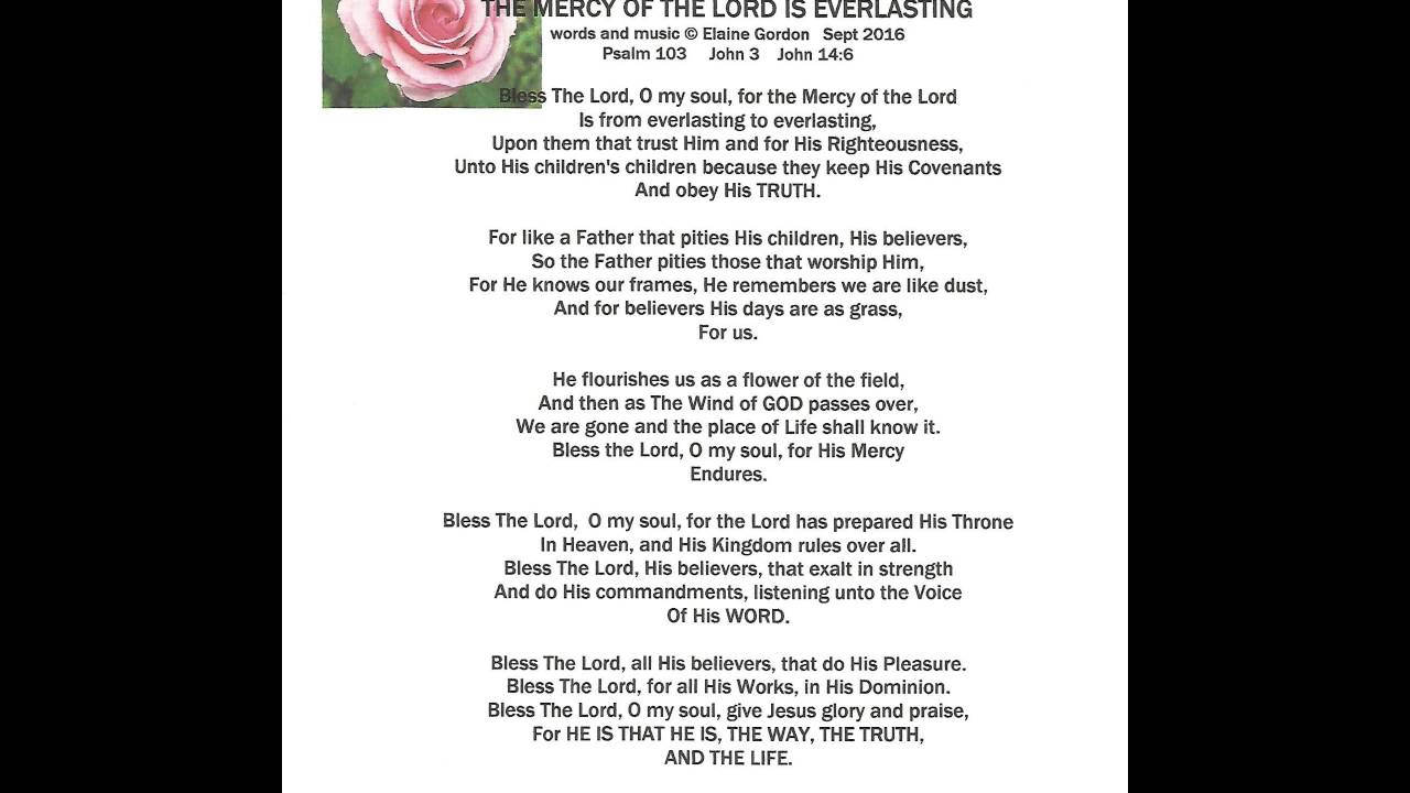THE MERCY OF THE LORD IS EVERLASTING wot - YouTube