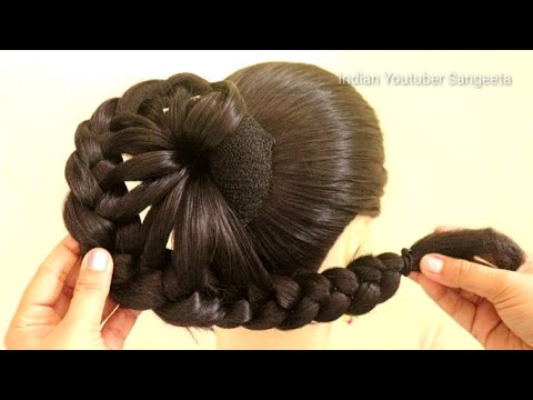 beautiful juda hairstyle for wedding and party || trending hairstyle || party hairstyle || hairstyle thumbnail
