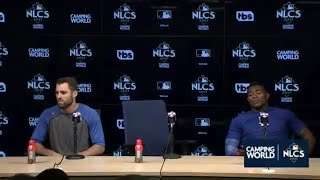 Yasiel Puig and Chris Taylor Postgame Interview | Dodgers vs Cubs Game 1 NLCS