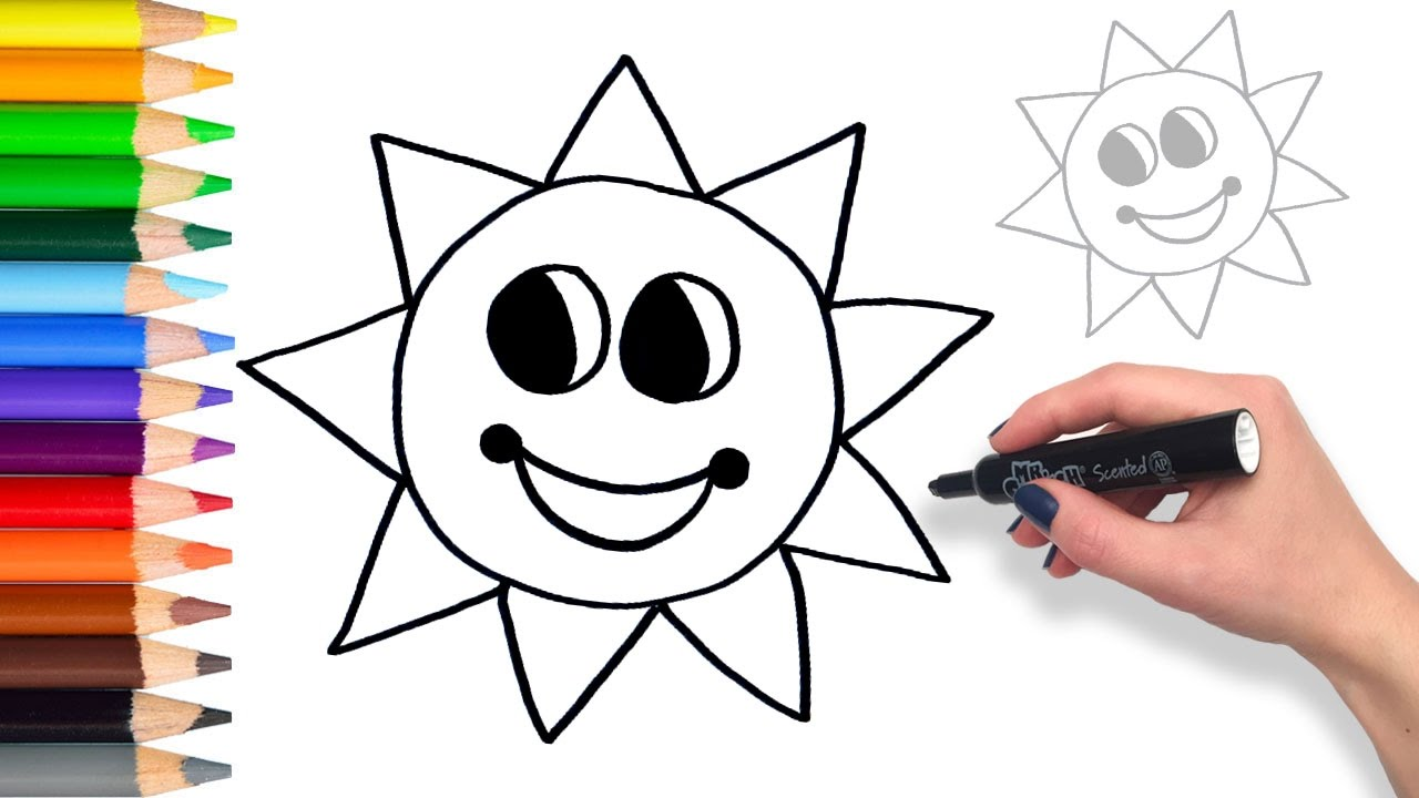 Learn to draw Mr. Sun | Teach Drawing for Kids and ...