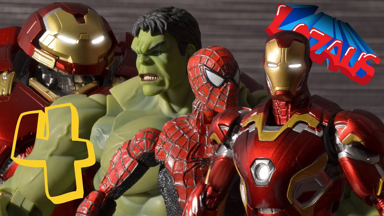 ironman stop motion part 4 with spiderman hulk hulkbuster youtube