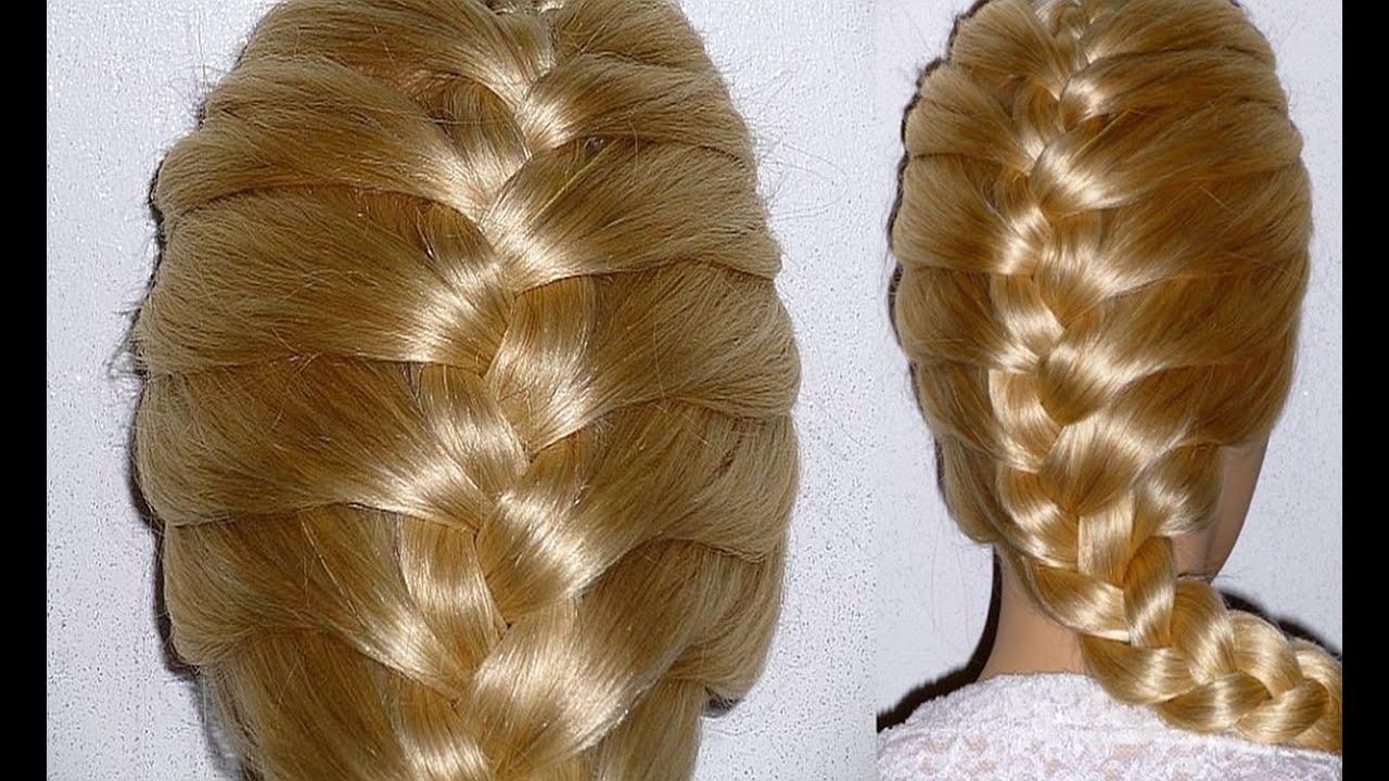 Косы на длинные волосы видео на русском