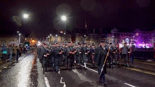 Massed Pipe Bands Parade through City of Perth for Robert Burns Celebration January 2019