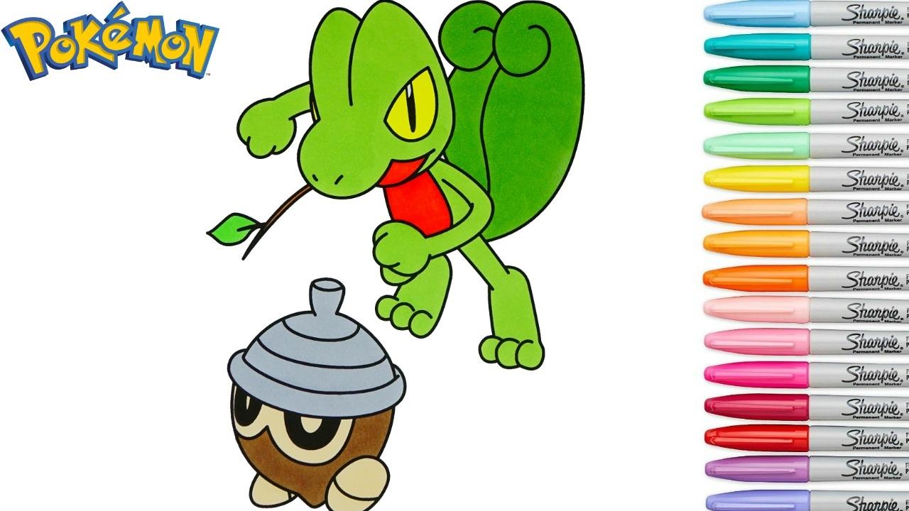 Pokemon Coloring Book Pages Treecko キモリ Seedot タネボー Rainbow ...