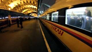 Прибытие поезда Сапсан, зацепер между вагонами