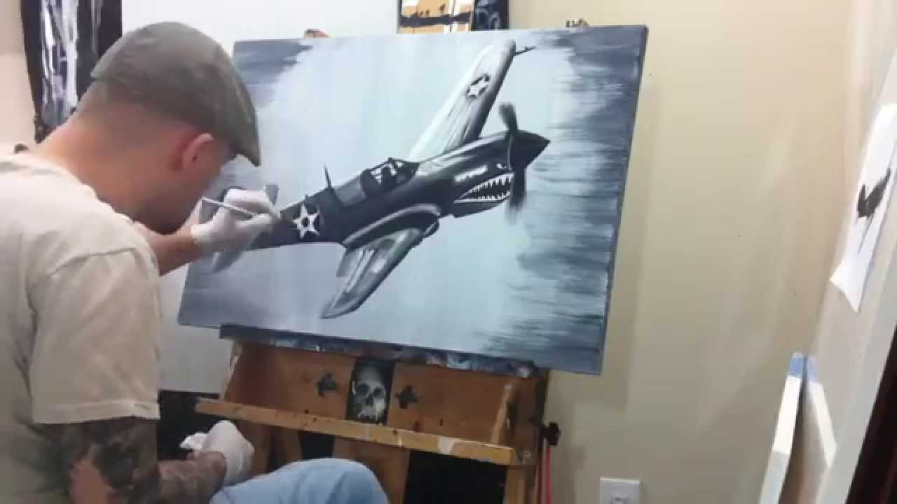 Timelapse Oil Painting Ww2 P 40 Fighter Plane Youtube